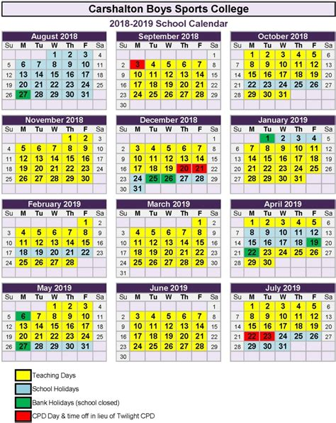 Calendar 2018 Uk School Holidays Carshalton Boys Sports College Term Dates