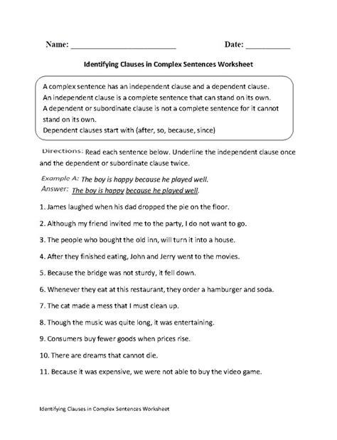 identify sentence pattern english grammar identifying clauses in complex sentences worksheet