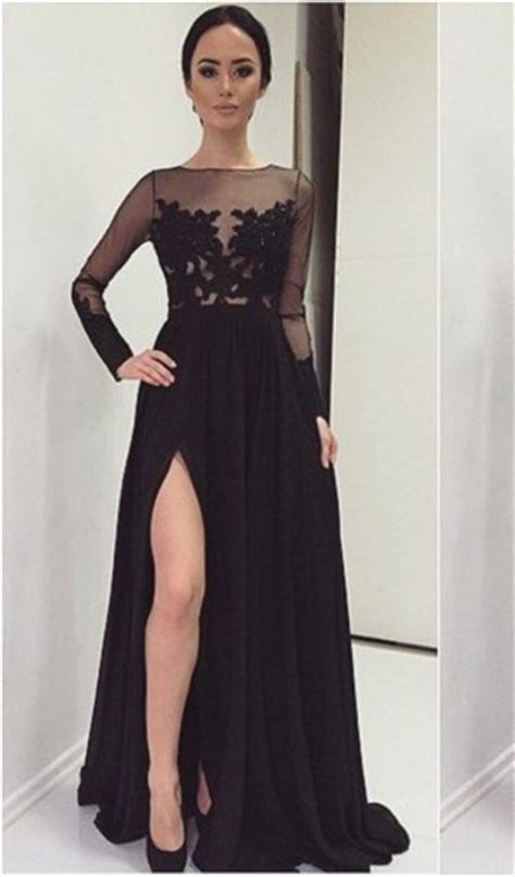 Sexy Lace Appliques Black 2018 Prom Dress Front Split Long
