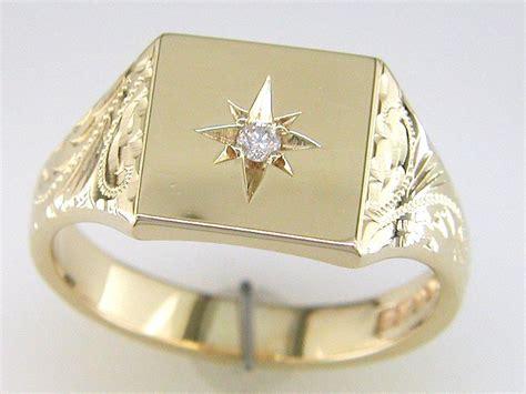 9 carat gold set signet ring signet rings