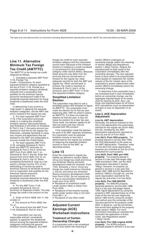 section 382 limitation rate form 4626 alternative minimum tax corporations