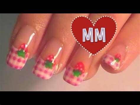 tutorial nail art strawberry strawberry pink gingham nail tutorial youtube