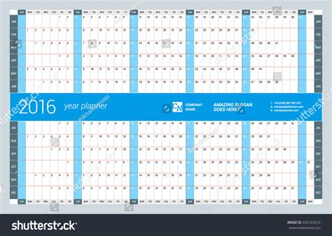 design calendar planner yearly wall calendar planner template 2016 stock vector