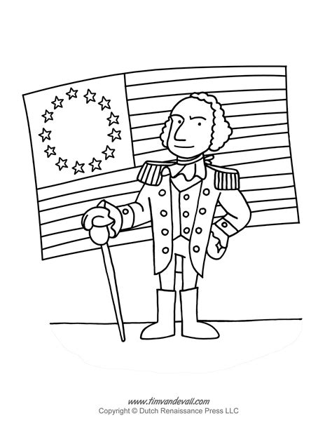 george washington coloring page tim van de vall
