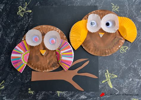Owl Paper Plate Craft - paper plate and cupcake liner owl craft for