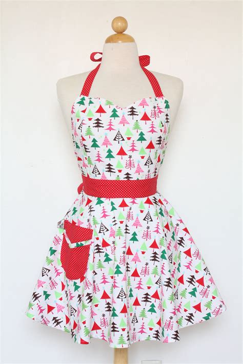 christmas tree apron pattern retro apron sweetheart neckline colorful christmas trees full