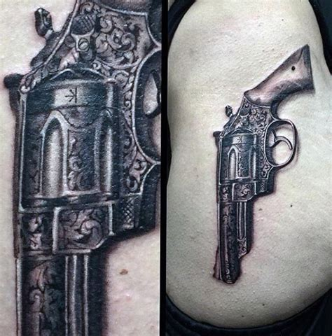 tattoo gun vintage 50 gun tattoos for men explosive bullet design ideas
