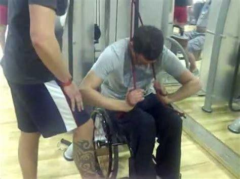 abdominal workout on a wheelchair