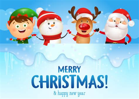 merry christmas  happy  year banner  funny characters vector