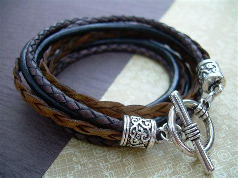womens leather bracelet antique brown black