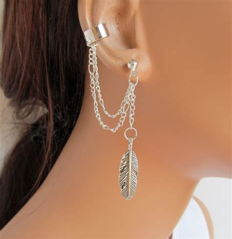 ear cuff earrings silver chain large feather gift