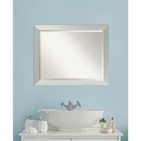 contemporary bathroom sterling carpentry amanti art brushed sterling silver wood 32 in w x 26 in