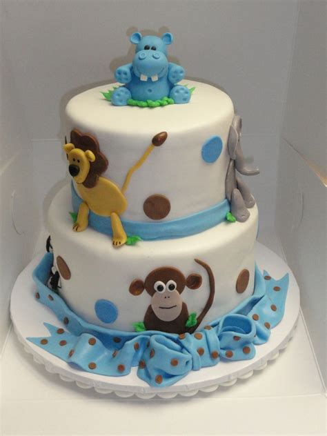 Animal Baby Shower Cakes by Jungle Animal Baby Shower Cake Cakecentral