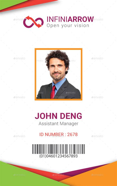 portrait id card template multipurpose business id card template by dotnpix