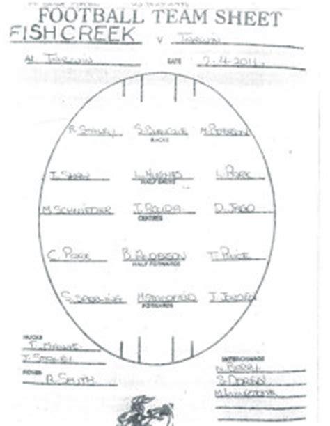 Free Afl Team Sheet Template