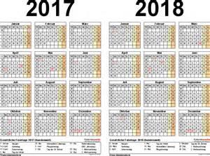 Excel vorlage f 252 r zweijahreskalender 2017 2018 querformat 1 seite