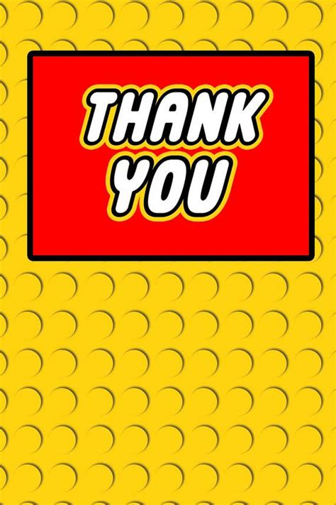 printable lego birthday thank you cards building block thank you card foldable digital file on