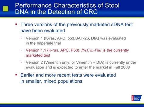 Normal Characteristics Of Stool by Colorectal Cancer Screening Update