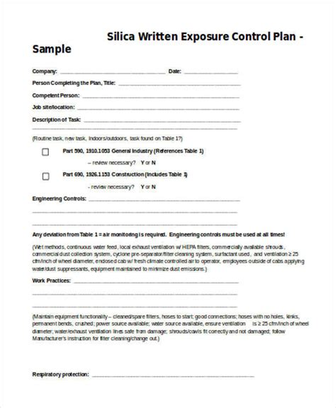 8 Control Plan Sles Templates Sle Templates Written Exposure Plan Silica Template