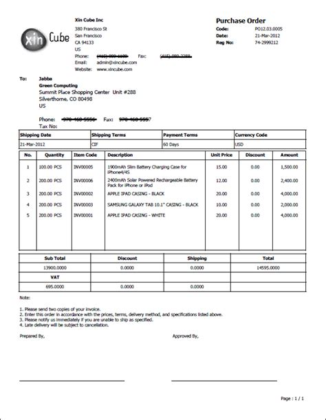 purchase order template po template sle purchase order