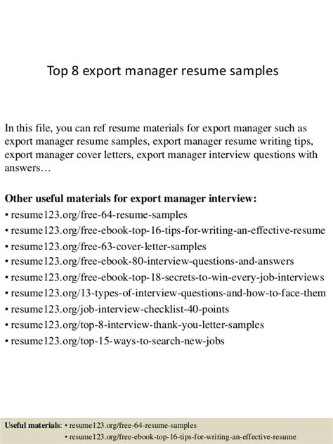 Import Specialist Cover Letter by Top 8 Export Manager Resume Sles