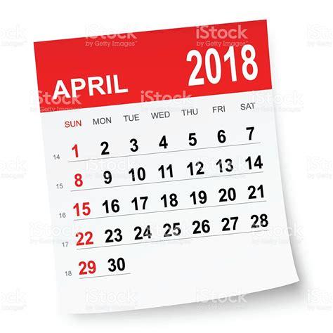 Calendar Image April 2018 Calendar Stock Vector More Images Of 2018
