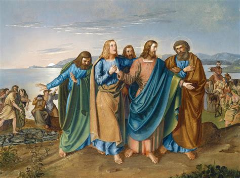 jesus comforts his disciples jesus and his disciples at the sea of galilee painting by