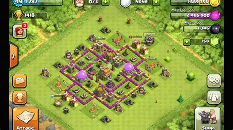 layout design th7 clash of clans best th7 layout youtube