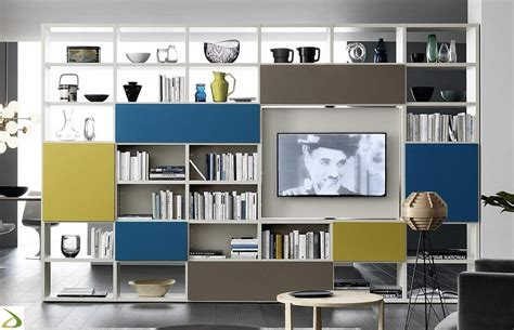 librerie colorate libreria con porta tv girevole calipso arredo design