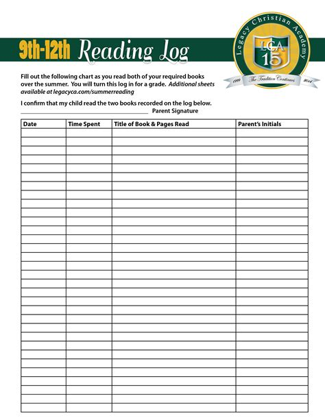 reading log for high school students template daily reading log for high school students reading