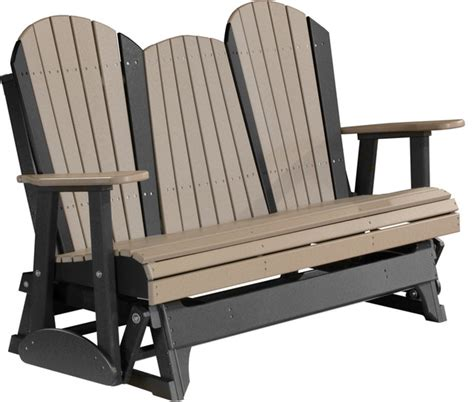 black glider bench 5 poly adirondack glider bench weather wood and black