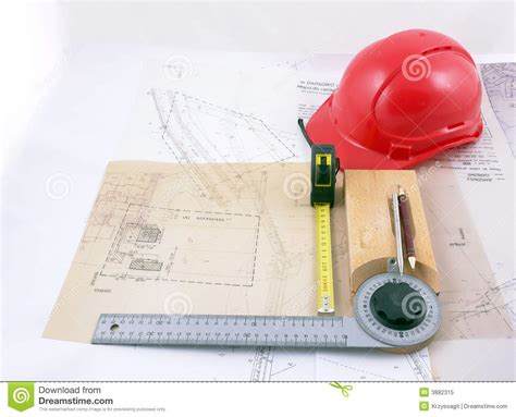 drawings and engineer tools stock image image 3882315