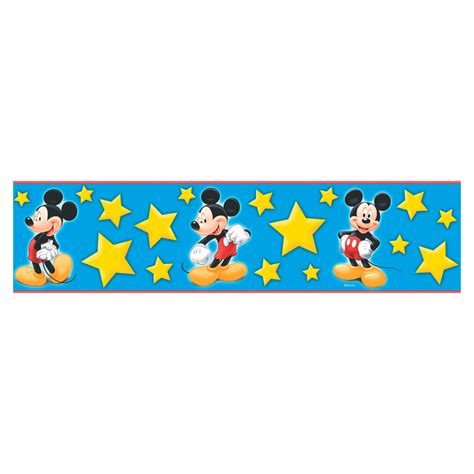 blue yellow wallpaper border shop disney 5 1 8 quot blue and yellow mickey stars prepasted