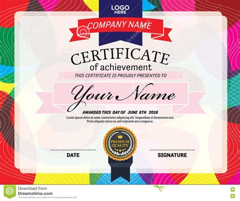 Colorful Certificate Diploma Template Design Vector