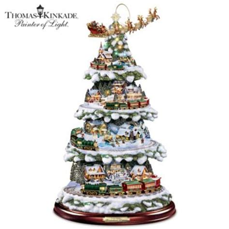 holiday memories lighted village and train music box kinkade animated tabletop tree with express