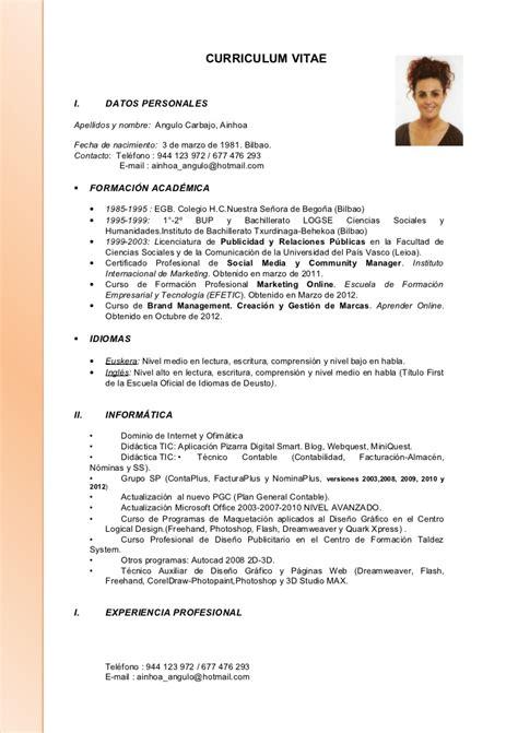 Modelo Curriculum Vitae Formacion Academica Curriculum Ainhoa Actualizado A 10 10 2012
