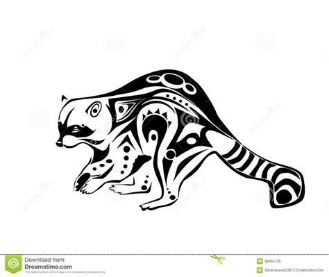 tribal raccoon tattoo plotting raccoon stock vector image of plotting