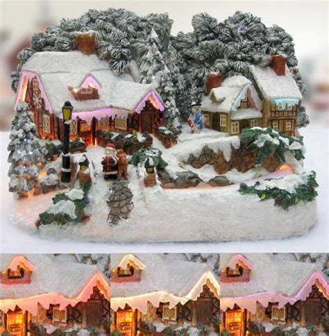 christmas village snow blankets with lights christmas snow village santa and reindeer led fiber optic