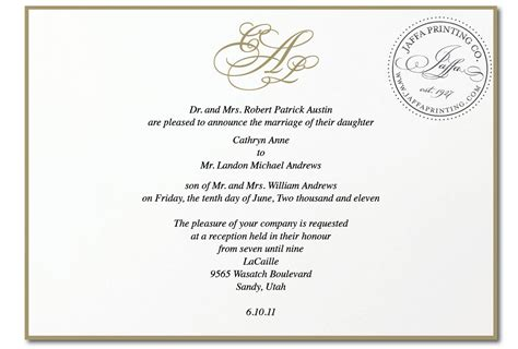 Royal Invitation Letter Exle Wedding Invitation April 2011