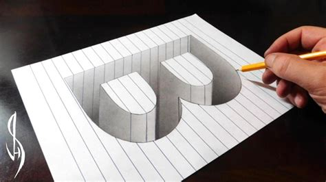 How To Make A Paper Illusion - drawing b in line paper 3d trick optical