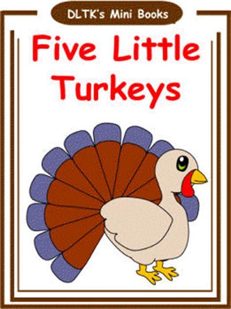 printable turkey mini books dltk s make your own books five little turkeys