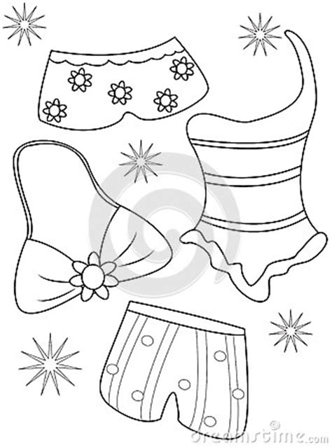 swimsuits coloring page stock illustration image