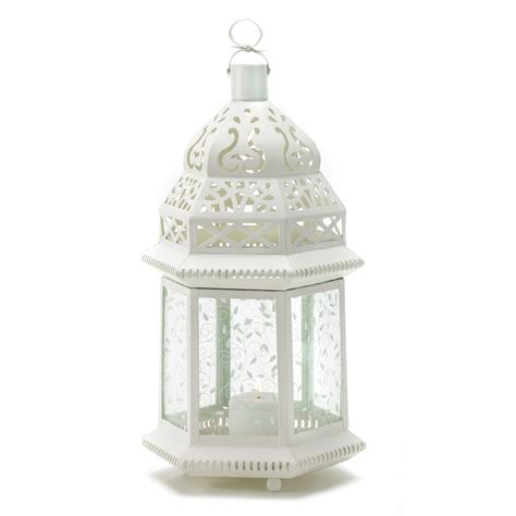 Large Glass Candle Lanterns Large White Moroccan Lantern Ornate Metal Glass Light