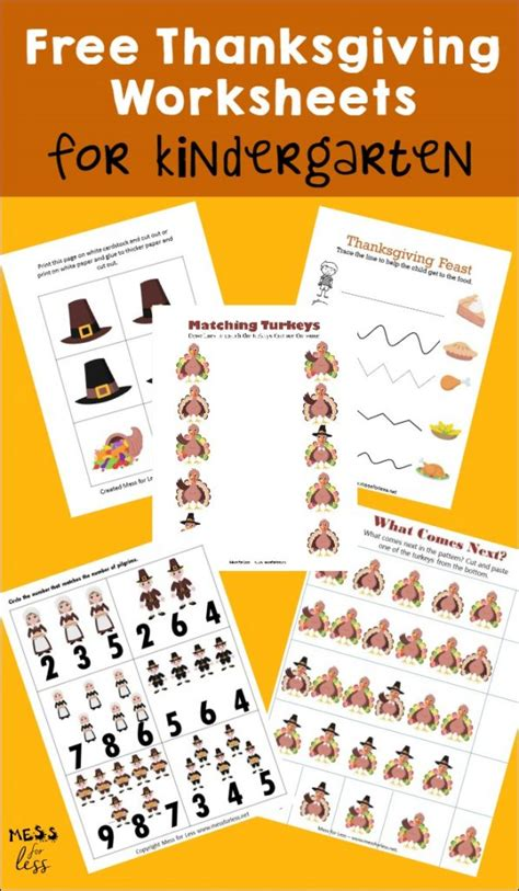 kindergarten activities for thanksgiving free kindergarten worksheets for thanksgiving mess for less