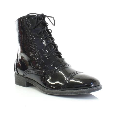 womens black patent flat brogue lace up ankle boots 4 5 6