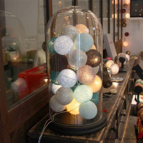 guirlande lumineuse 20 boules en coton longueur 5m bleu gris