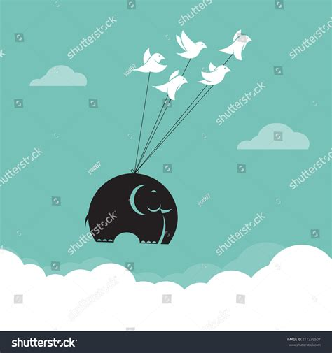 what color represents unity vector image of bird and elephant in the sky represents