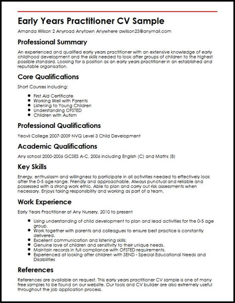 Practitioner Resume Templates Free Early Years Practitioner Cv Sle Myperfectcv