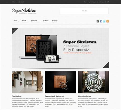 skeleton responsive template 22 professional corporate templates tutorialchip