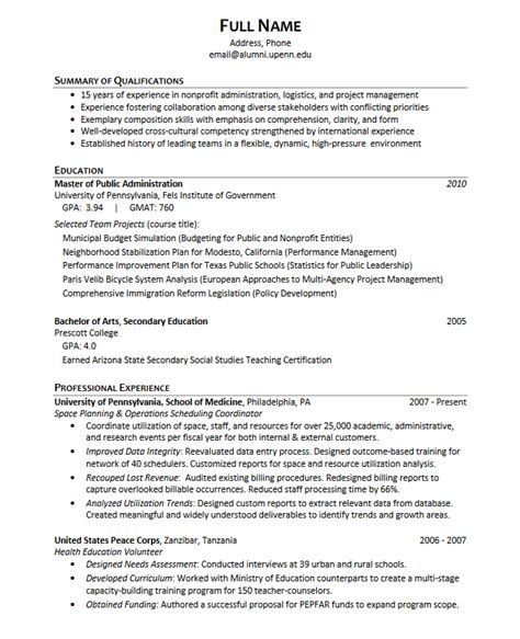 Resume Examples For University Students by Career Services At The University Of Pennsylvania